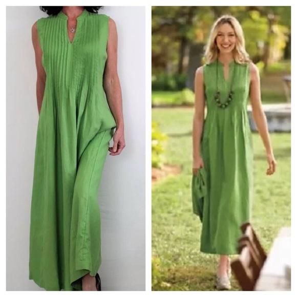 45b6da73c J. Jill Dresses & Skirts - J.Jill Linen Dress Mandarin Collar V Neck
